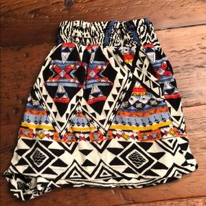 Stretchy tribal patterned shorts.